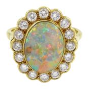 18ct gold oval opal and diamond cluster ring