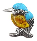 Silver turquoise and amber kingfisher brooch