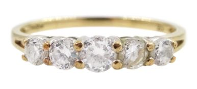 9ct gold five stone cubic zirconia ring
