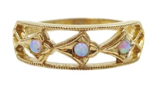 9ct gold three stone opal ring