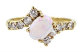 9ct gold opal and zirconia ring
