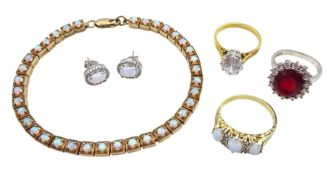 Collection of silver and silver-gilt jewellery including opal link bracelet
