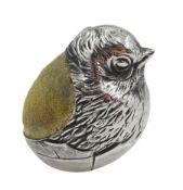 Edwardian silver chick pin cushion