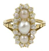 19th century gold diamond and pearl ring