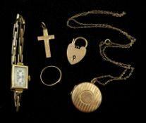Gold locket pendant necklace