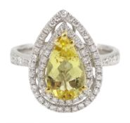 18ct white gold pear shaped golden/yellow beryl and round brilliant cut diamond cluster ring