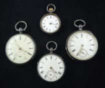 Three 19th century silver open face pocket watches by Waltham Mass