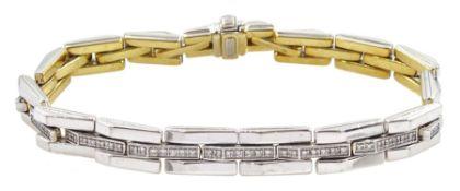 18ct white and yellow gold reversible rectangular link bracelet