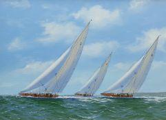 George Drury (British 1950-): J Class Yachts 'Velsheda' 'Endeavour' and 'Shamrock V 1935'