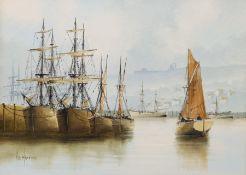Ken Hammond (British 1948-): 'Whitby Harbour'