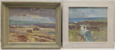William B Dealtry (British 1915-2007): Hay Bales in the Field and Moorland Stream