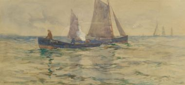 Frank Rousse (British fl.1897-1917): Whitby Cobles off the Coast