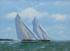 George Drury (British 1950-): J Class Yachts 'Britannia' and 'Valkyrie III' 1895