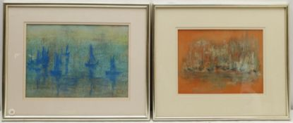 Madeleine Eyland (Belgian/British 1930-2021): 'Blue Boats at Anchor' and 'Blue Dancing Boats'