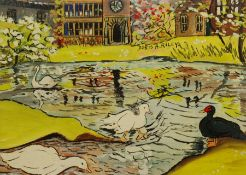 Doris Ada Riley (Northern British 1901-1993): Playtime on the Pond at East Riddlesden Hall