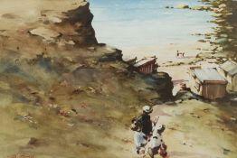 Bernard McDonald (British 1944-): Children descending to a Rocky Cove