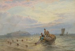 John MacPherson (British fl.1858-1891): Hauling the Nets off Inchkeith Scotland