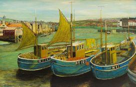 J H Morton (British mid 20th century): Keel Boats Whitby
