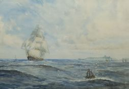 W Gibson (British early 20th century): Barque in Full Sail off Whitby