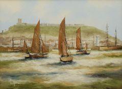 Ken Hammond (British 1948-): 'Fishing Fleet at Scarborough'