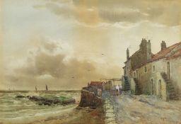 C M Williams (British 19th/20th century): Figures on the Quayside