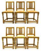 Yorkshire oak - set of six golden oak lattice back dining chairs