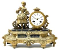 Late 19th century French gilt metal figural mantel clock
