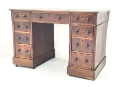 Late Victorian walnut twin pedestal desk of small proportions