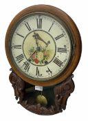 19th century mahogany circular drop dial wall clock