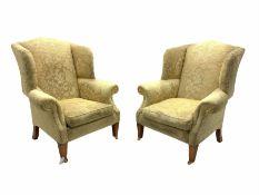 Duresta - pair beech framed wingback armchairs