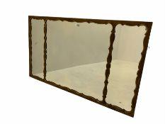 Early 20th century Georgian style walnut framed triple pane wall mirror
