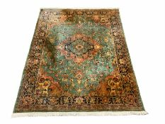Persian style green ground rug carpet