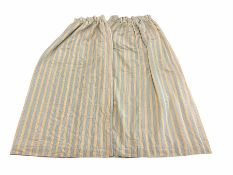 Heavy quality blue and yellow striped thermal lined curtains with complimentary tie backs