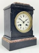 Small Victorian black slate and variegated marble mantel clock