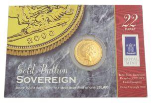Queen Elizabeth II 2000 gold full sovereign coin