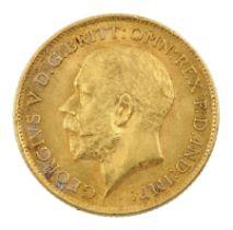 King George V 1913 gold half sovereign coin