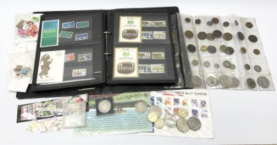 Mostly Great British stamps and coins including King George II crown coin