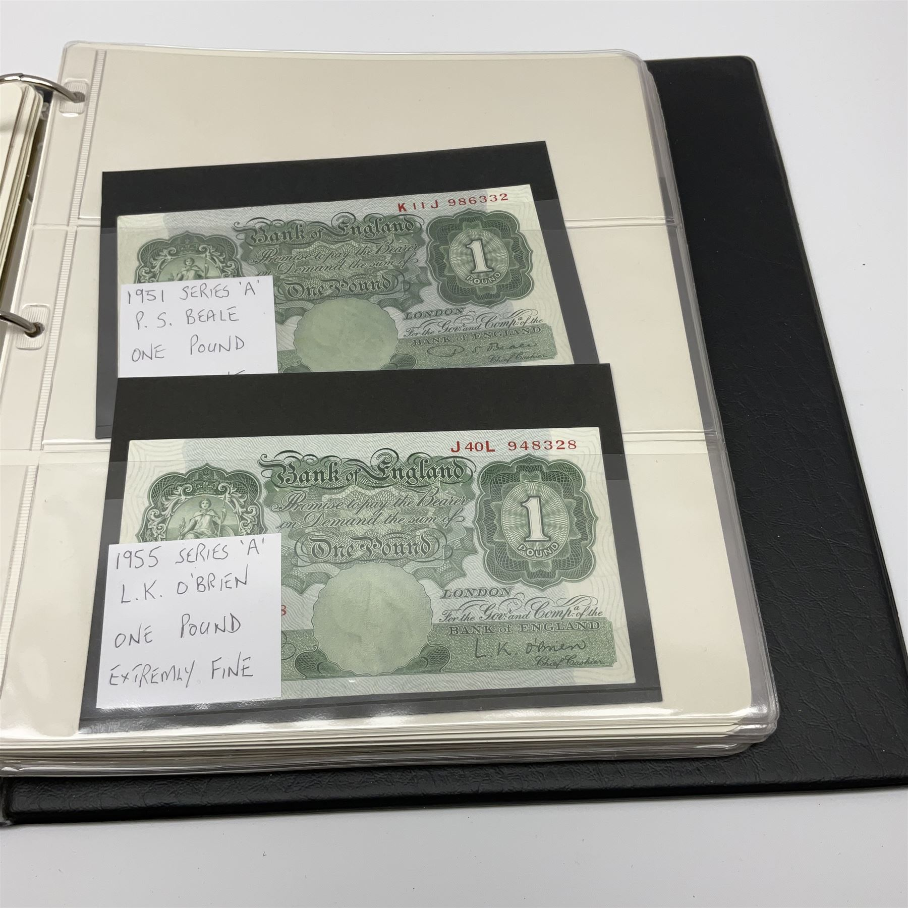 Album of mostly Great British banknotes including Peppiatt emergency issue one pound 'E57E' - Image 12 of 19