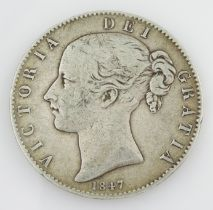 Queen Victoria 1847 crown coin