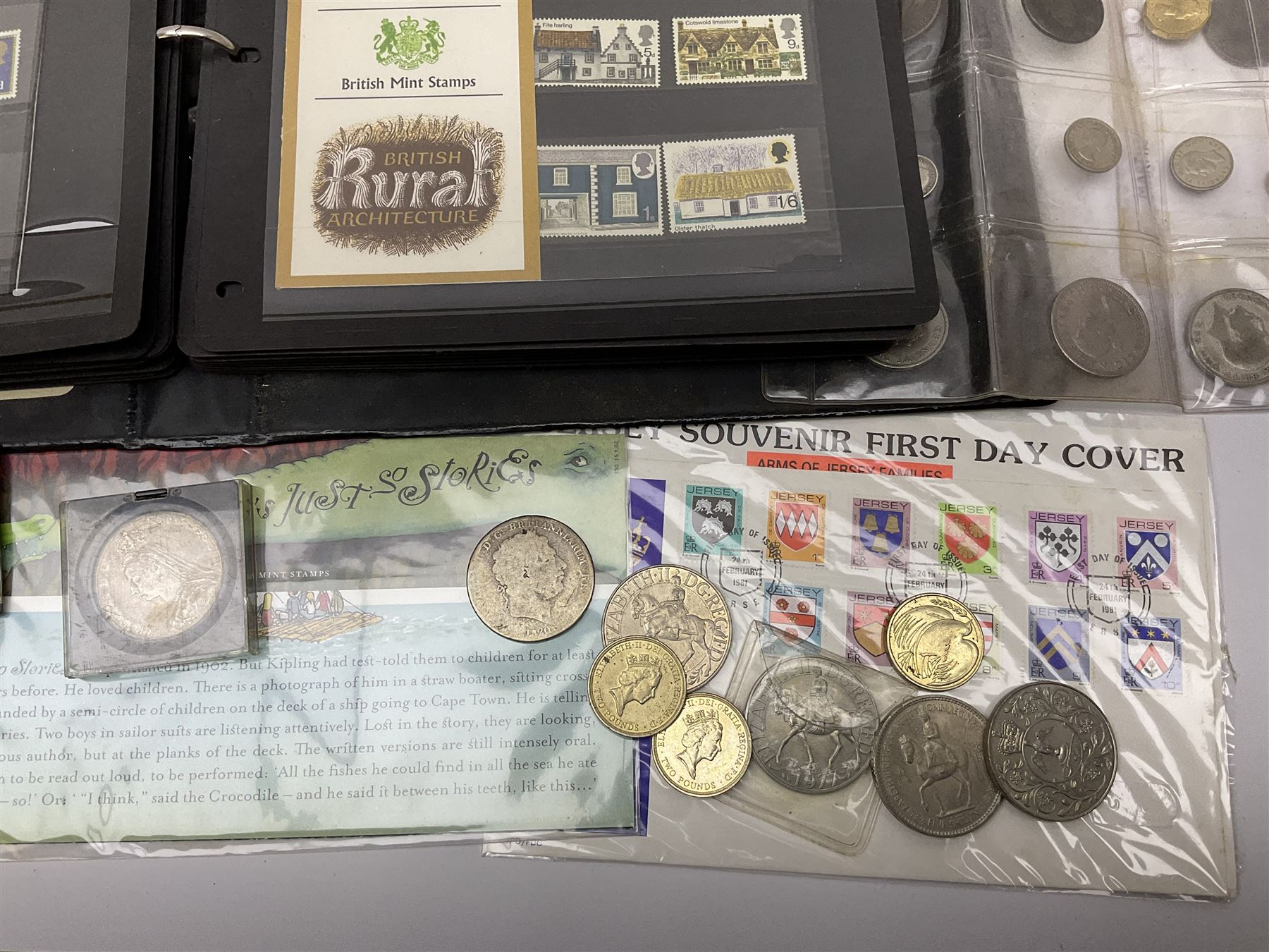 Mostly Great British stamps and coins including King George II crown coin - Image 2 of 7