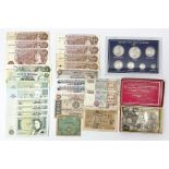 Coins and banknotes including Queen Victoria 1855 sixpence