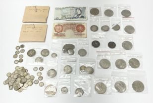 Mostly Great British coins and banknotes including Queen Victoria Gothic florins