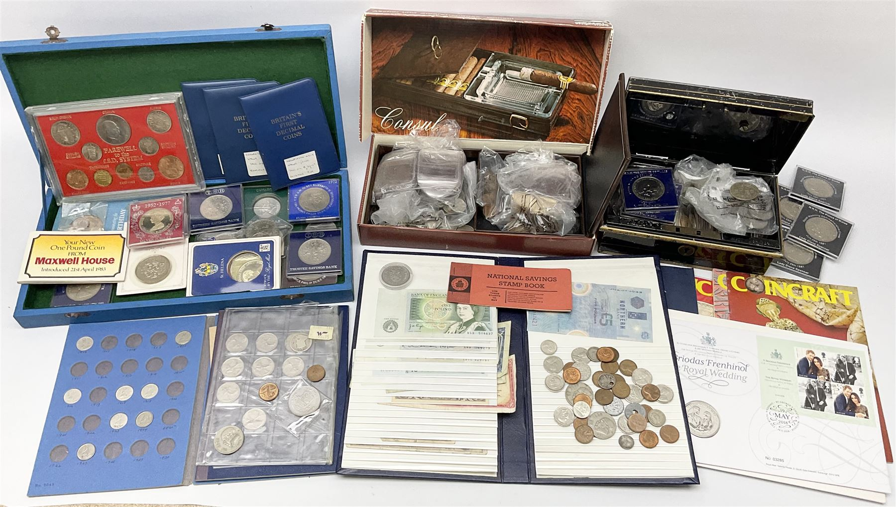 Great British and World coins and banknotes including two United States of America 1964 half dollar