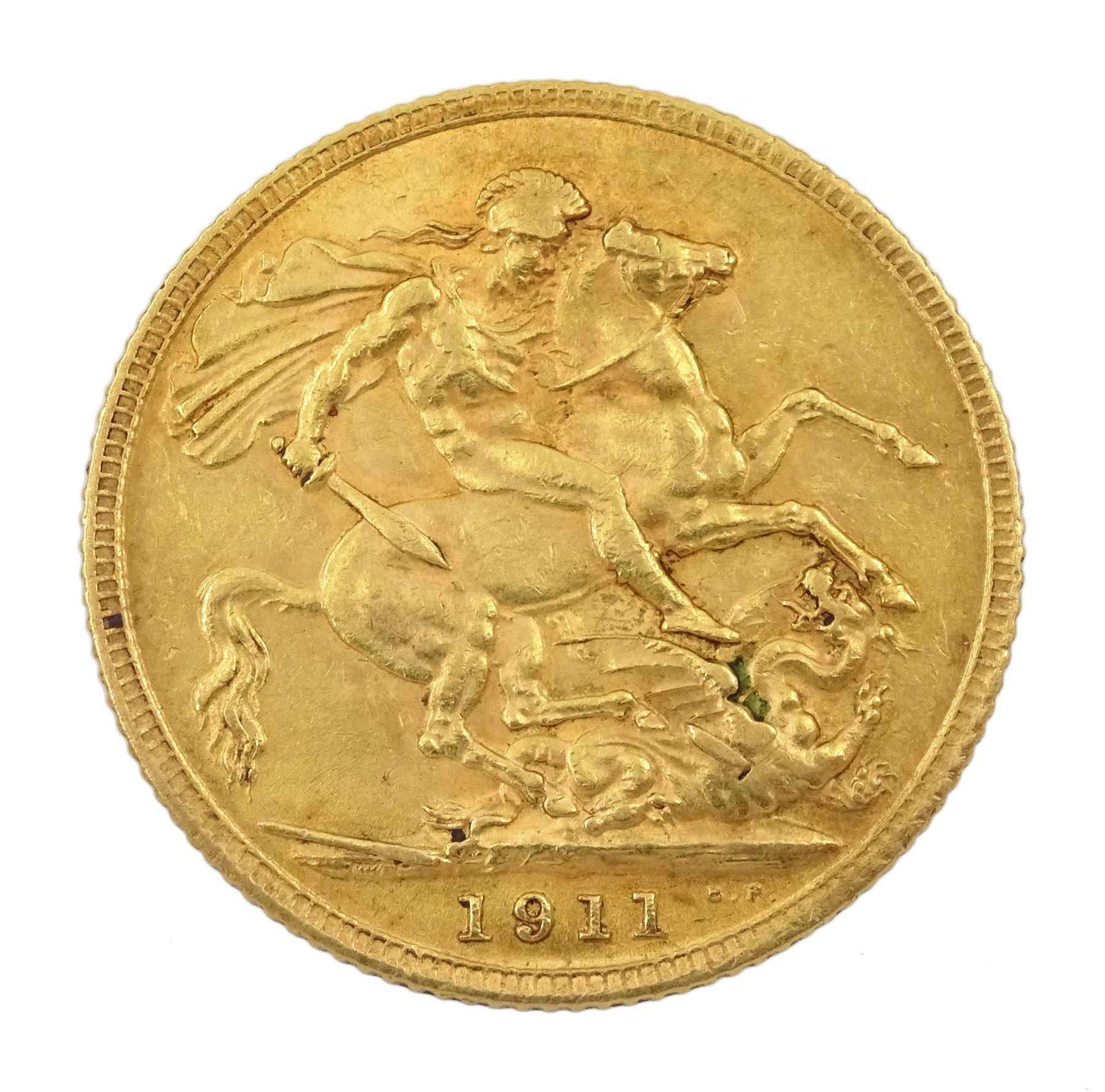 King George V 1911 gold full sovereign coin - Image 2 of 2