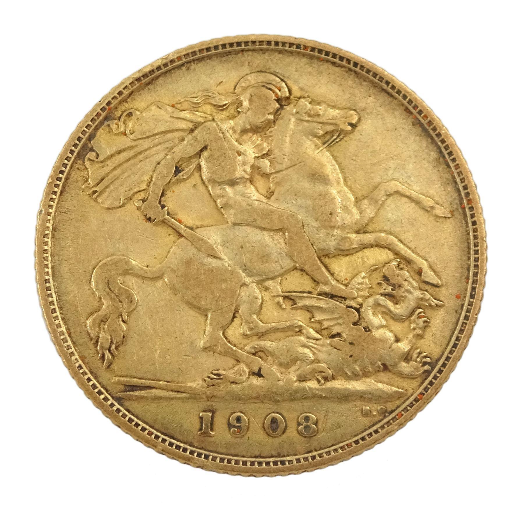 King Edward VII 1908 gold half sovereign coin - Image 2 of 2