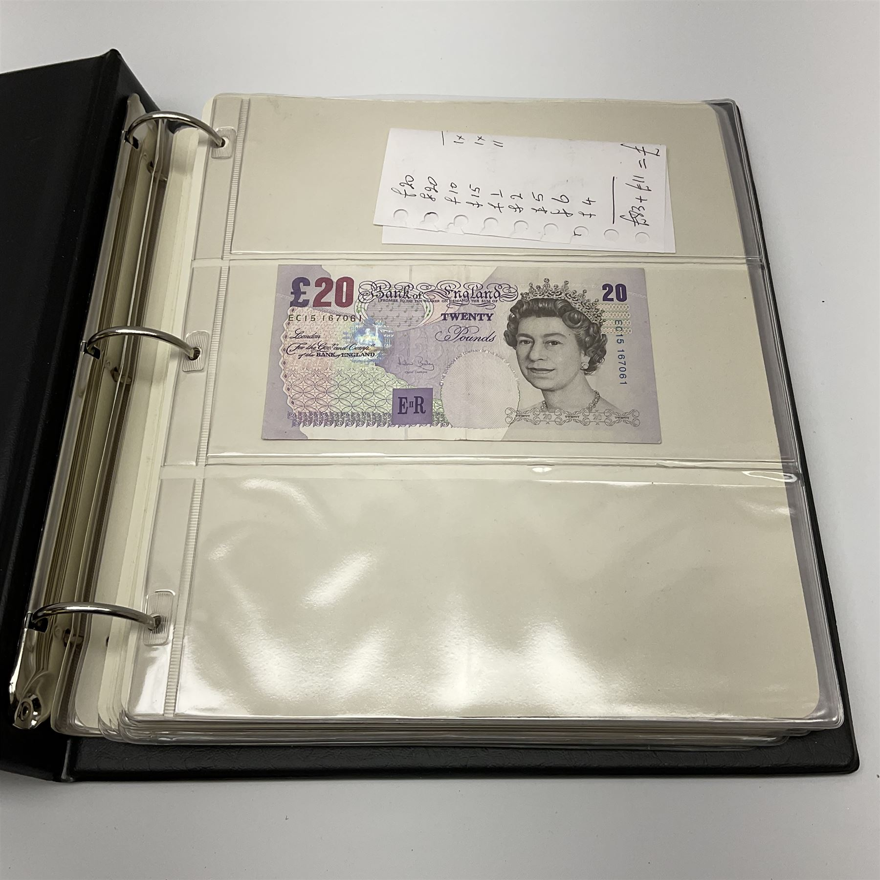 Album of mostly Great British banknotes including Peppiatt emergency issue one pound 'E57E' - Image 17 of 19