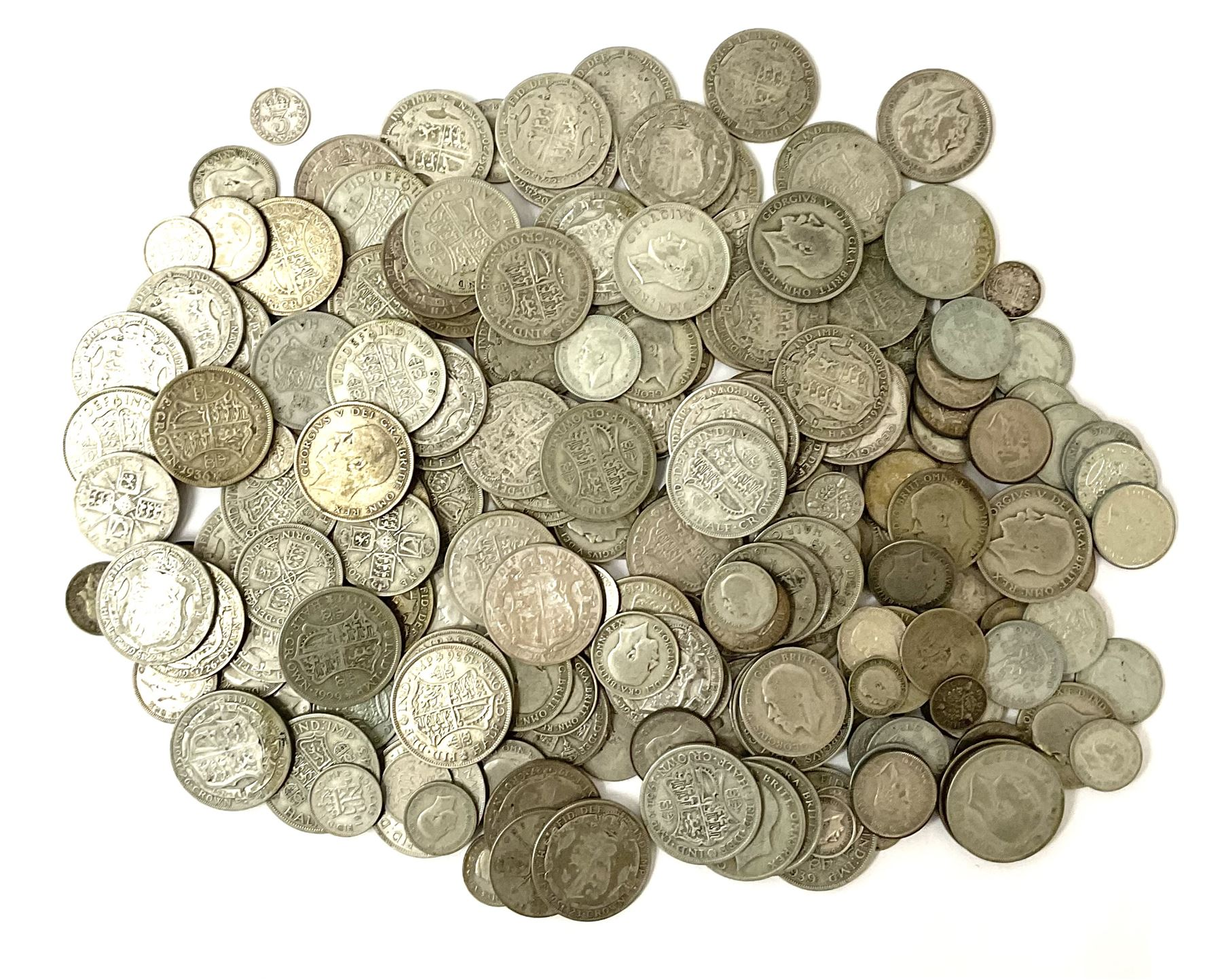 Approximately 1750 grams of Great British pre 1947 silver coins including half crowns