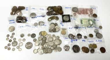 Great British and World coins including small number of pre 1920 silver coins including a Queen Vict