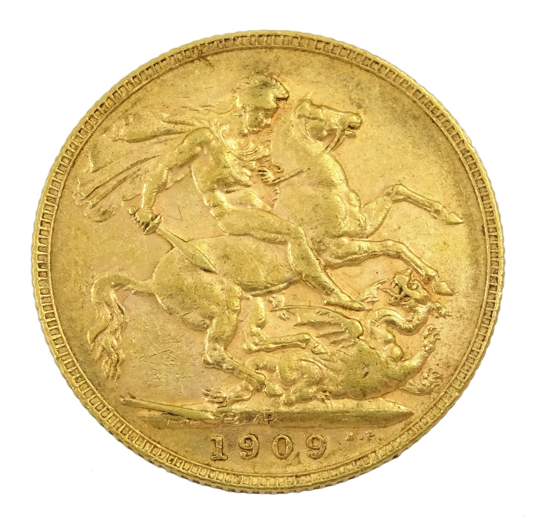King Edward VII 1909 gold full sovereign coin - Image 2 of 2