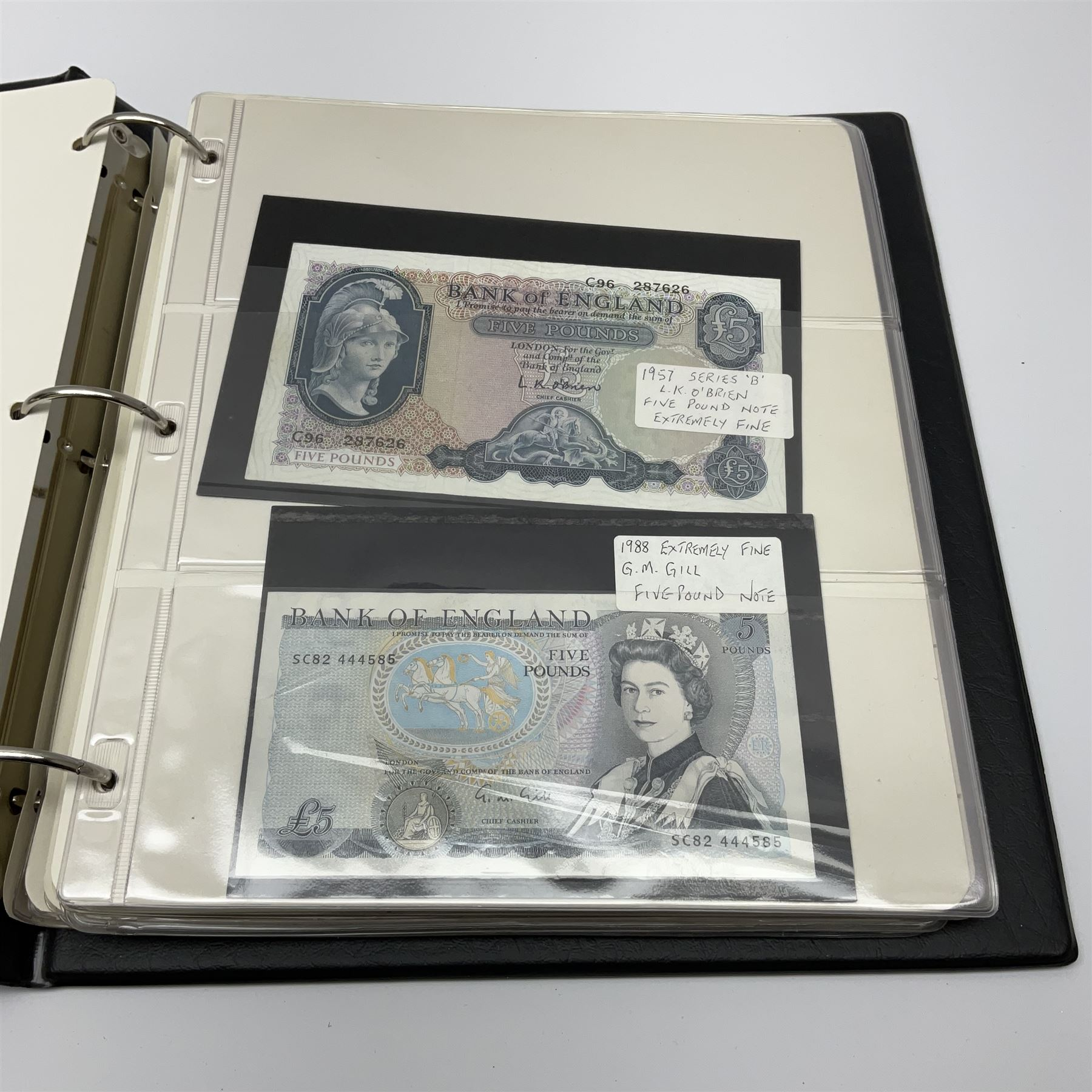Album of mostly Great British banknotes including Peppiatt emergency issue one pound 'E57E' - Image 15 of 19